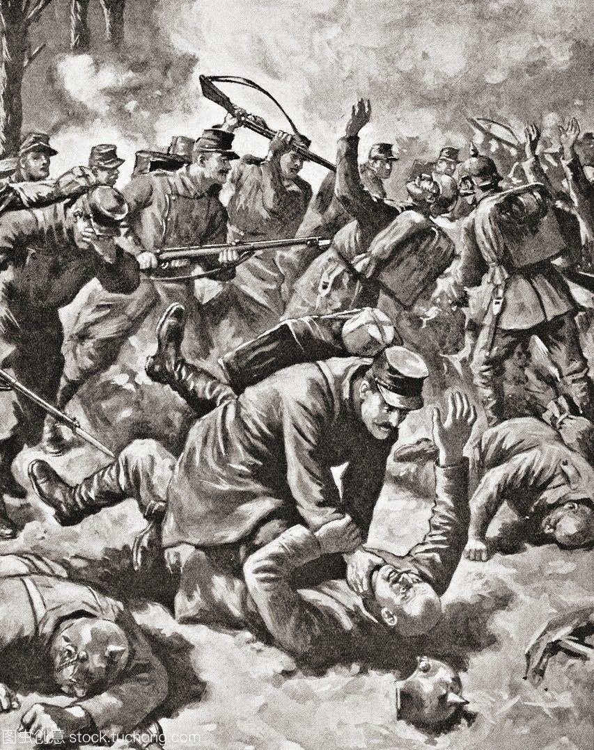 德国和法国士兵在西线作战。《战争插图》专辑