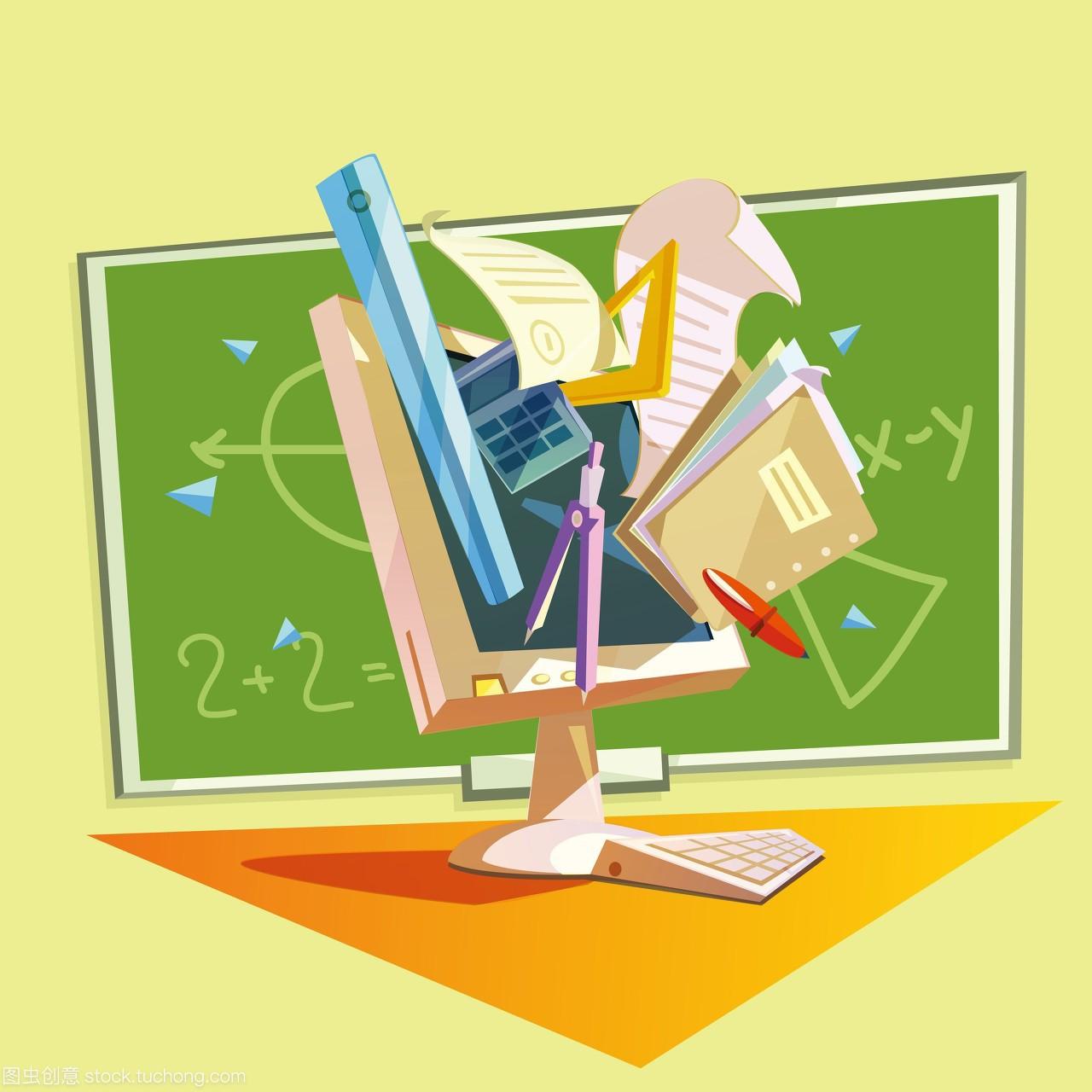 教育复古理念。教育漫画与漫画学习用品的复古乃学校梨子图片