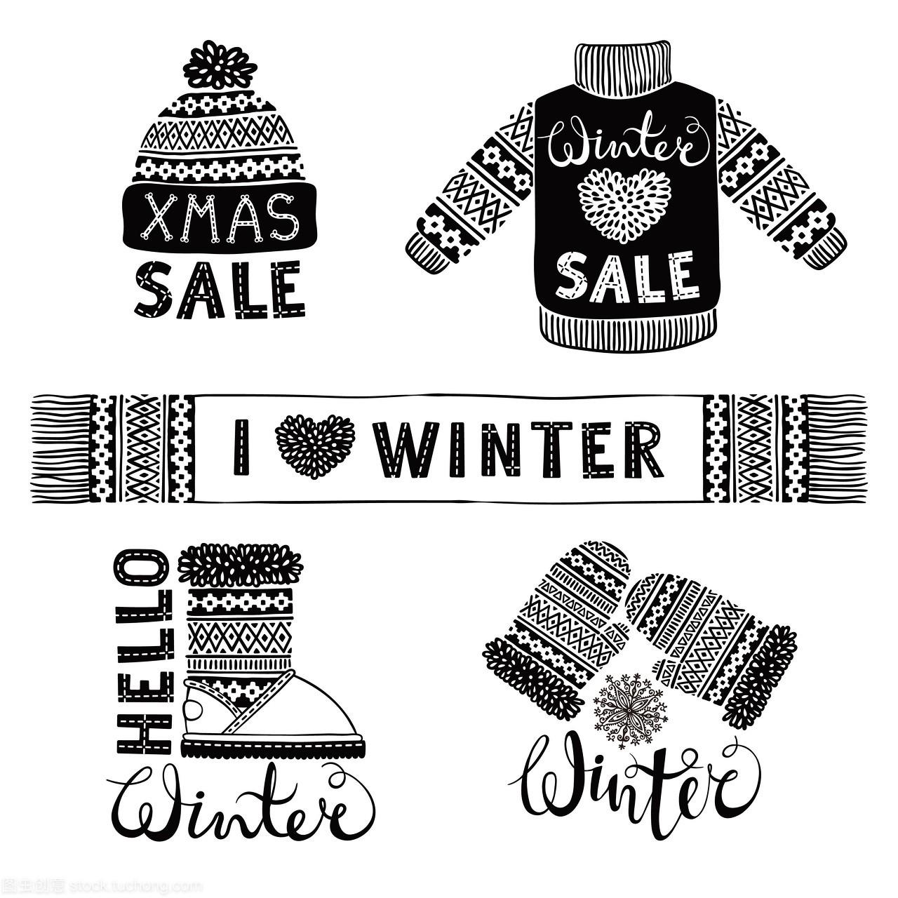 设置毛衣针织毛织品和手套。图纸,鞋类,图纸,靴pdf成如何转cad帽子图片