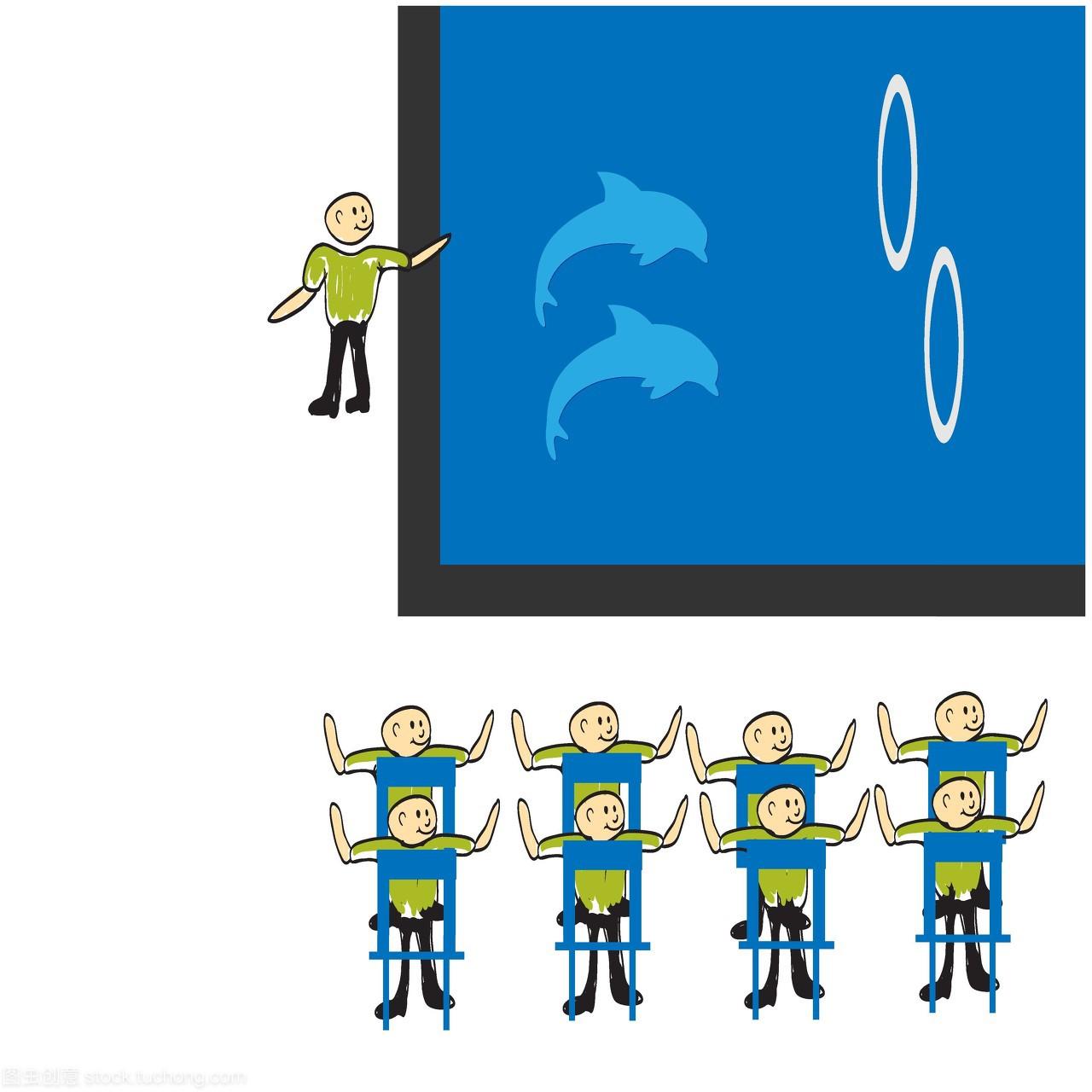 漫画,矢量图,表面,卡通,水产,水,海豚,孤立,鱼类,搞笑漫画海洋图片