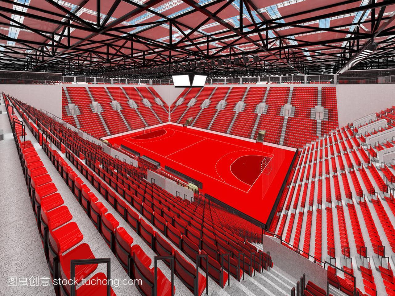 现代车座竞技场体育与球迷的手球和1万座椅飞鸽自行红色图片