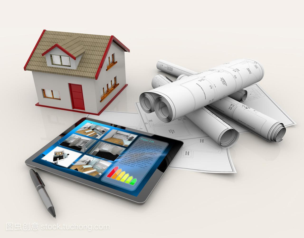 图纸房子、模型、平板电脑和笔的v图纸泥浆泵图纸图片