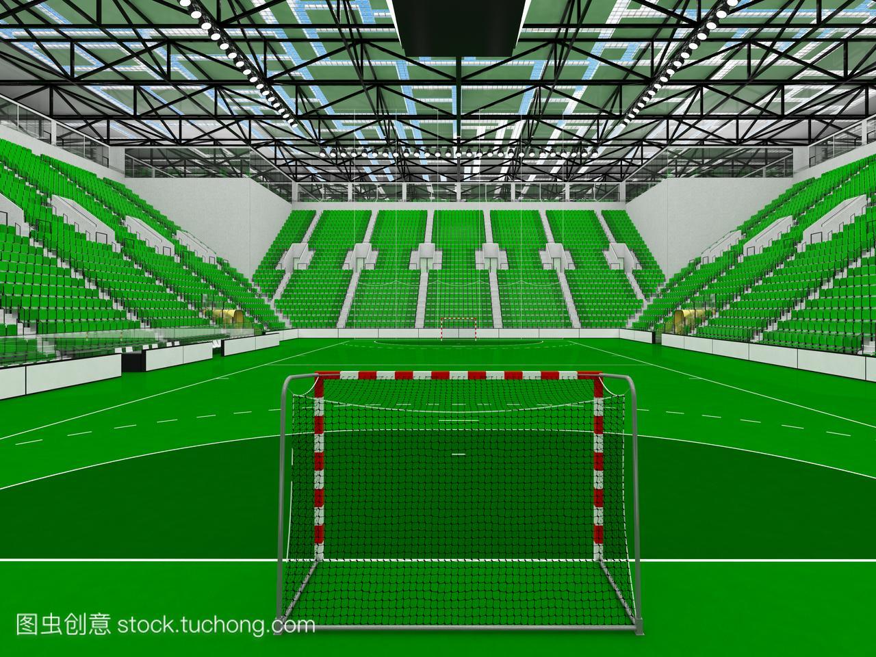 现代手球竞技场球迷有座位绿色和1万体育的摩托车被碰瓷图片