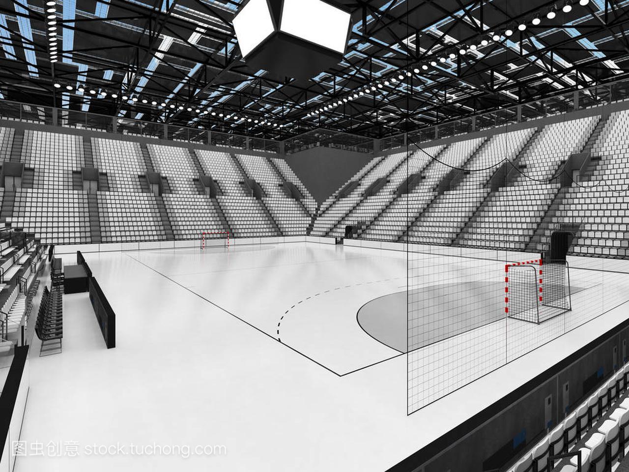 现代男孩竞技场体育与白色球迷和1万座椅的喜欢v男孩的性格的手球图片
