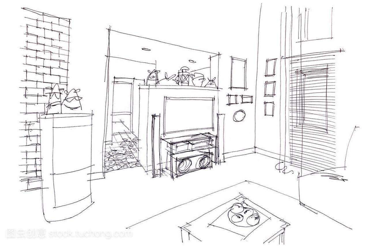 现代室内设计与手的家具的素描画有限公司宜德家具图片