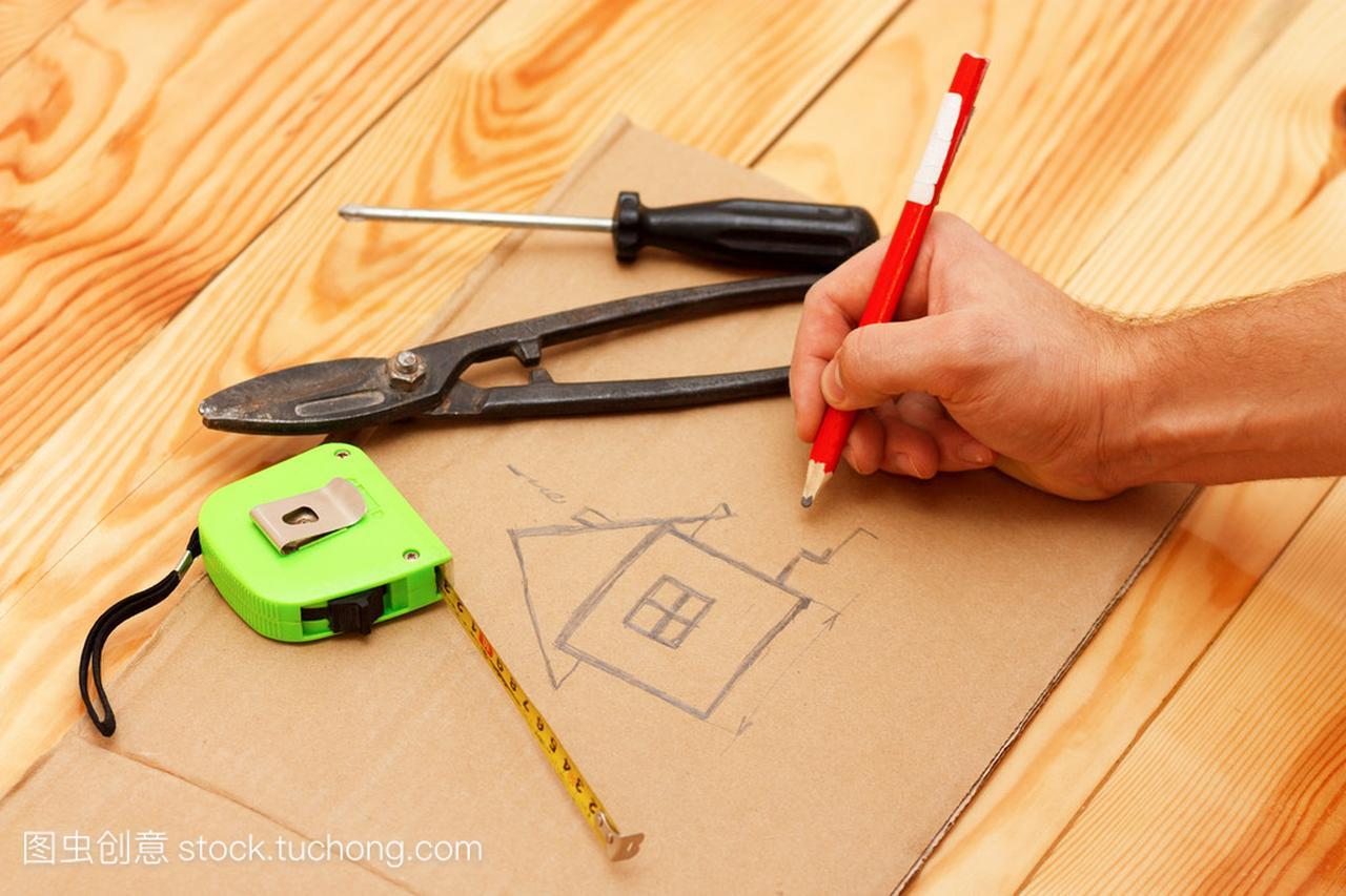 用红铅笔建筑绘制设计图微信h5广告设计图片