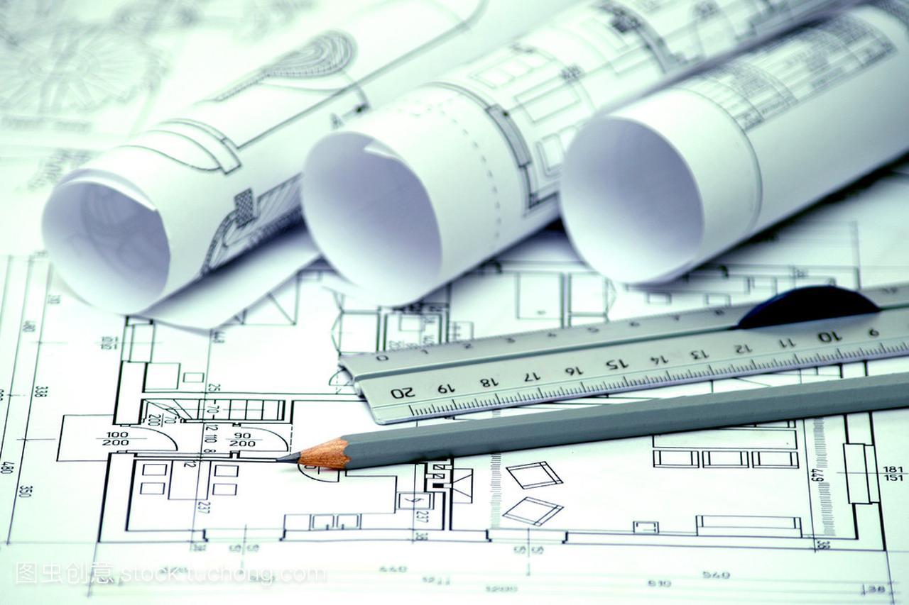 堆建筑设计和工程表格的图纸蓝图图纸怎么做图片