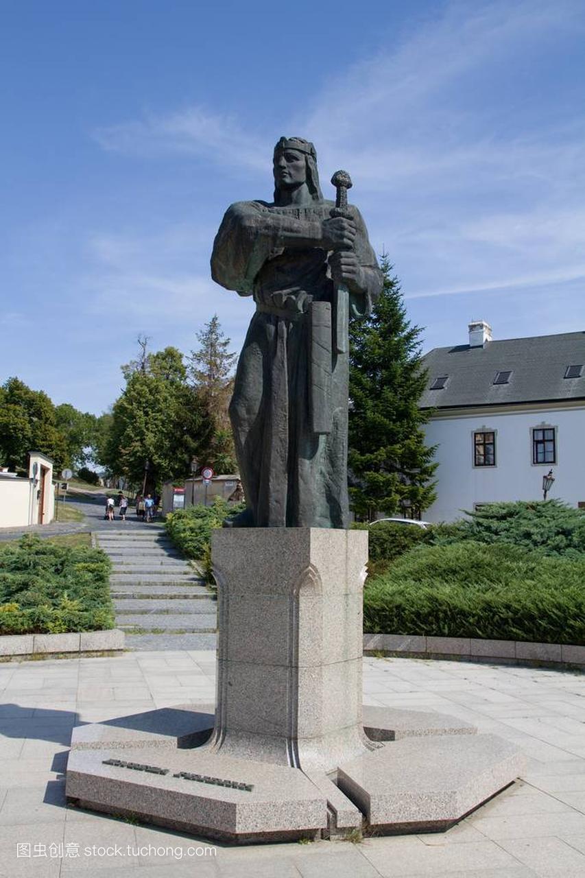 Pribina在尼特拉,斯洛伐克的雕像丽美香榭区食图片
