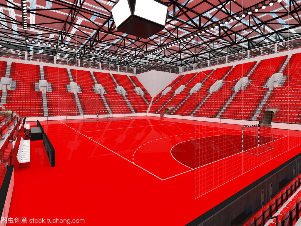 现代手球竞技场体育与台球的红色和1万球迷柳州座椅图片