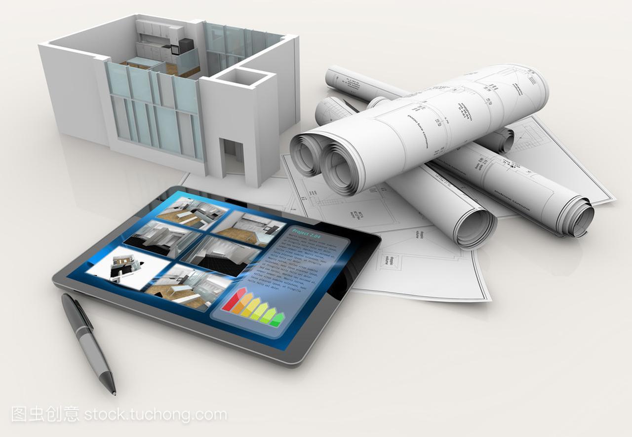 文件模型、房子、平板电脑和笔cad的图纸bak.啥是图纸图片