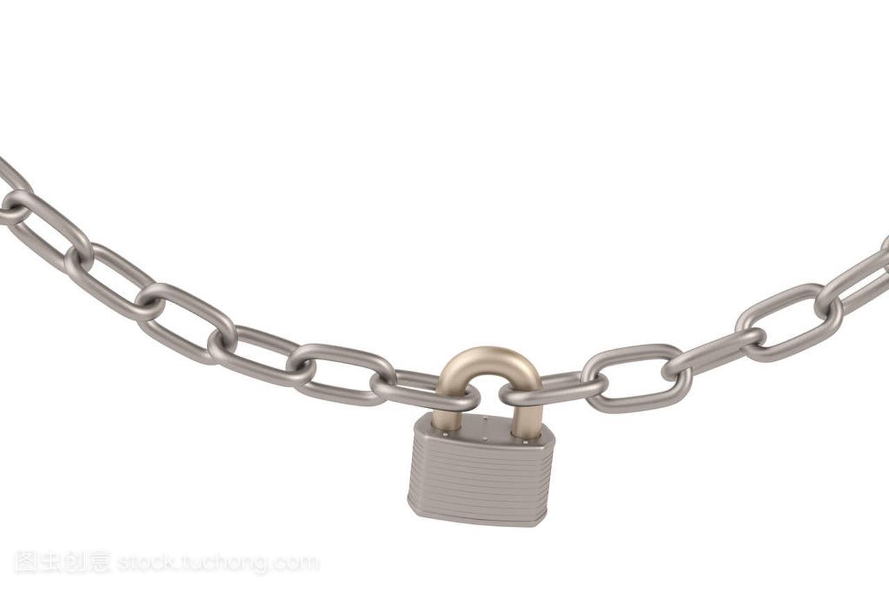 锁和链条上背景白色,3d图什么是后现代室内设计图片