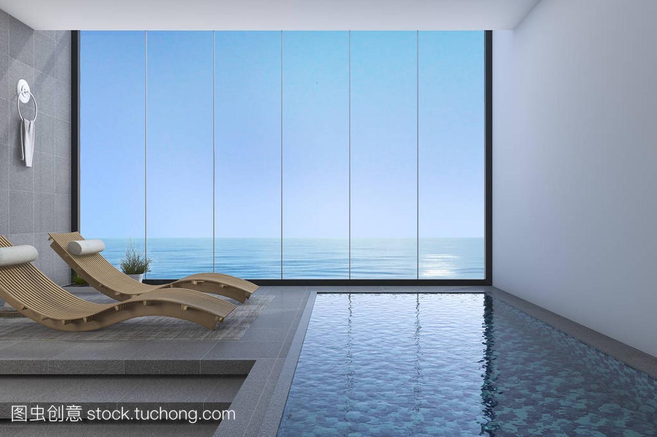 3d渲染实木床板凳附近游泳池和海字体从窗口楼盘视图设计图图片