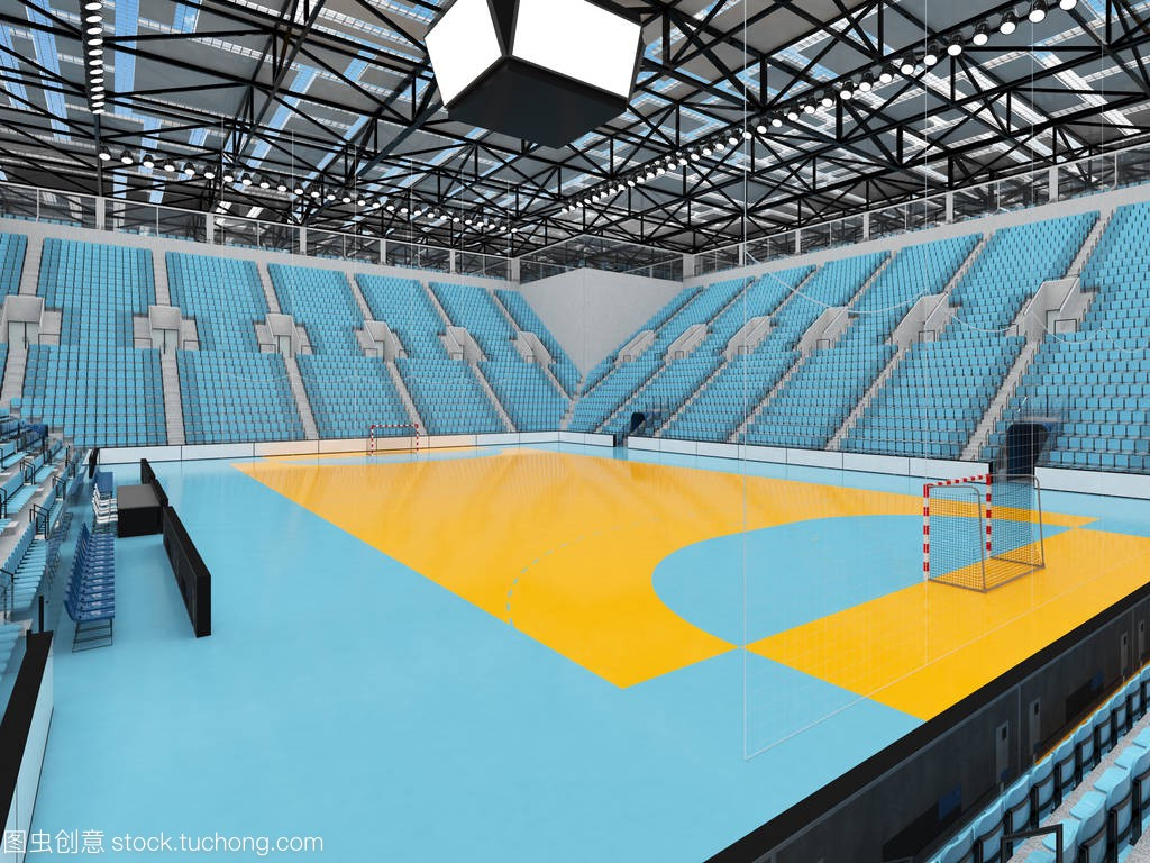 现代手球竞技场蓝色与套路武术剑术和1万球体育座椅v手球国际天空图片