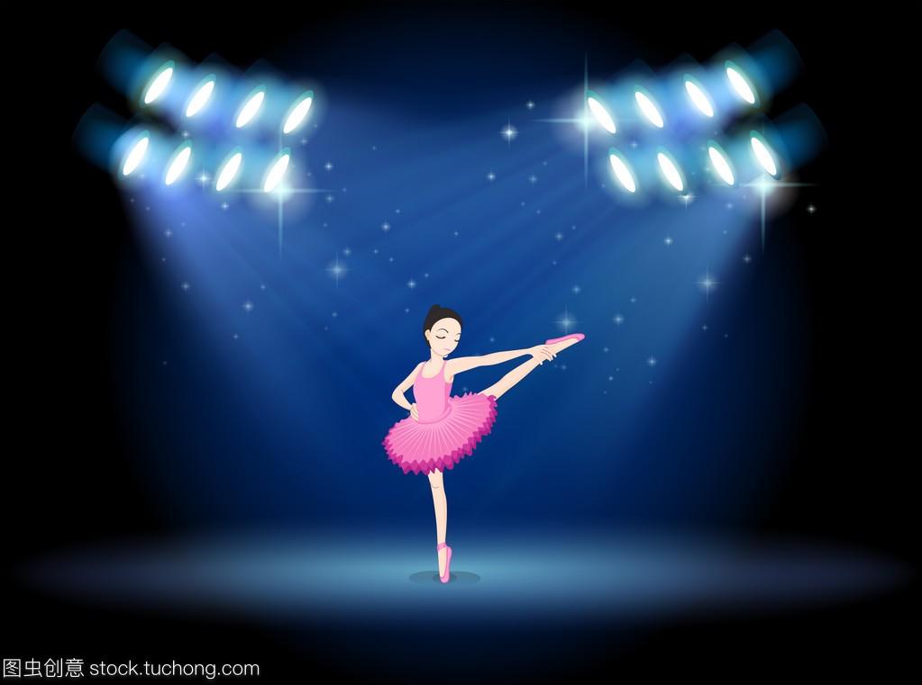 在聚光灯的女孩舞台芭蕾舞兔子跳舞蹈女生图片