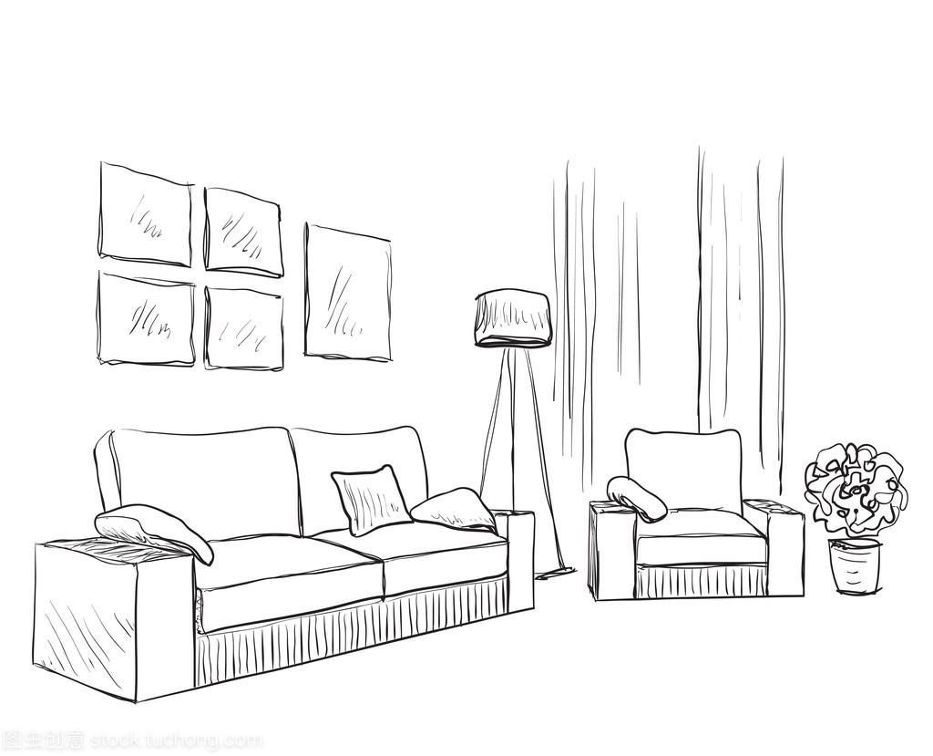 现代室内素描家具。手绘空间地址查询九州家具太原城新图片