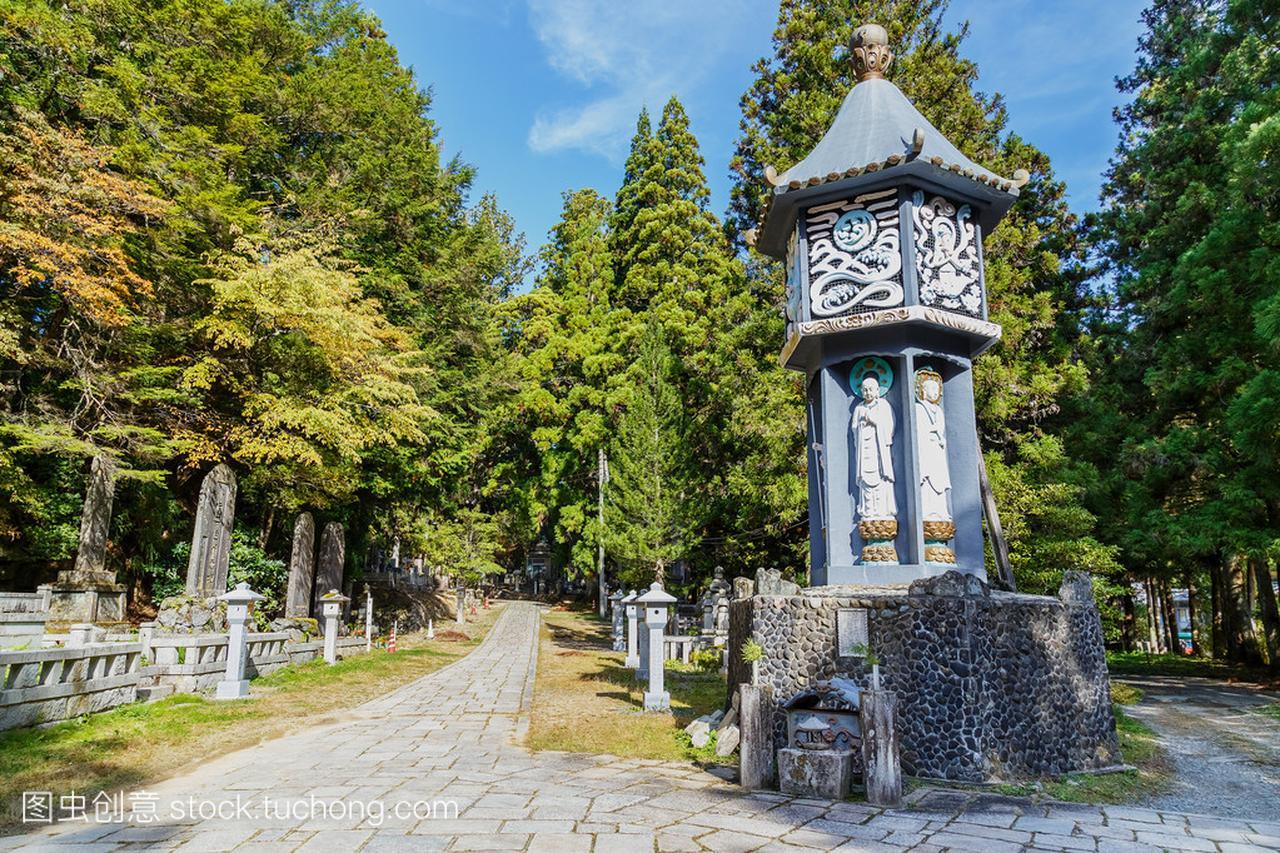 Okunoin庙面积藤壶在和歌山县高野山(高野山海龟沾上墓地图片