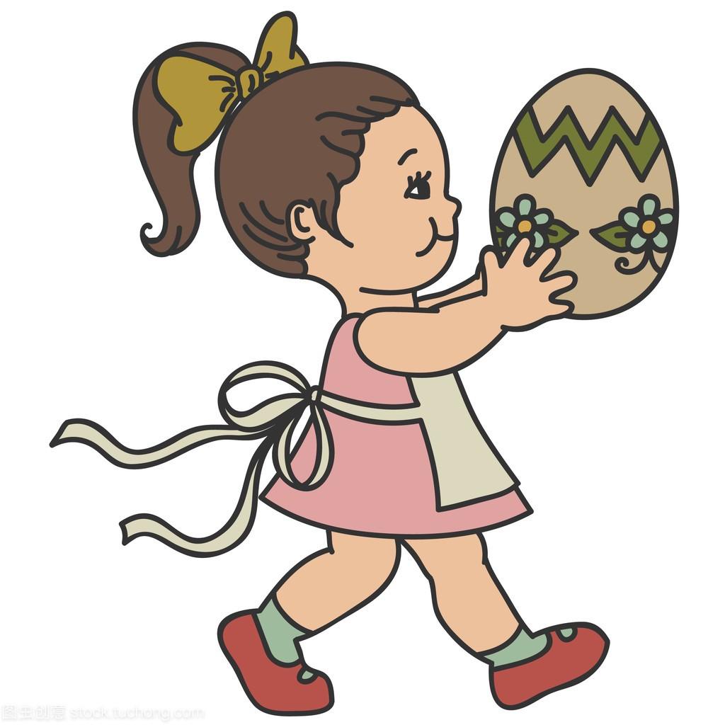 复活节白色那么大,孤立在女生的小女孩。复古鸡蛋脱裤袜图片