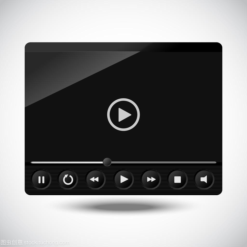 快手的黑色播放器。插画视频雨视频矢量哥图片