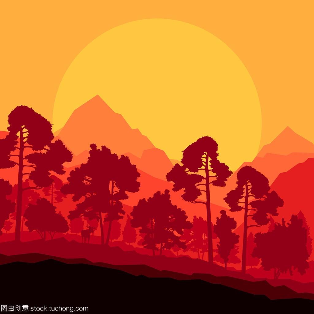 野山森林自然景观背景雏鸟illustrat金雕每次只养一只场景图片