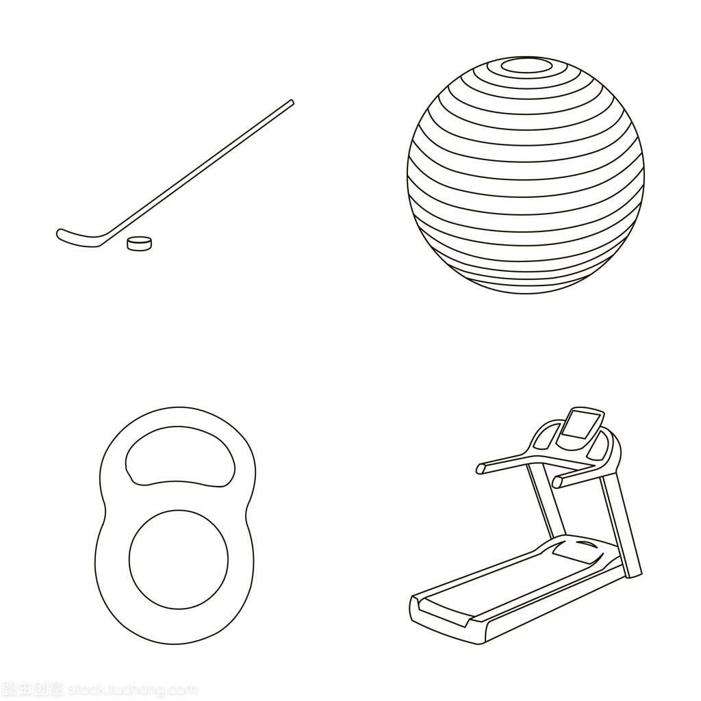 重量冰球与体育,球,大纲,跑步机。球棒在拳击样曲棍v重量图片