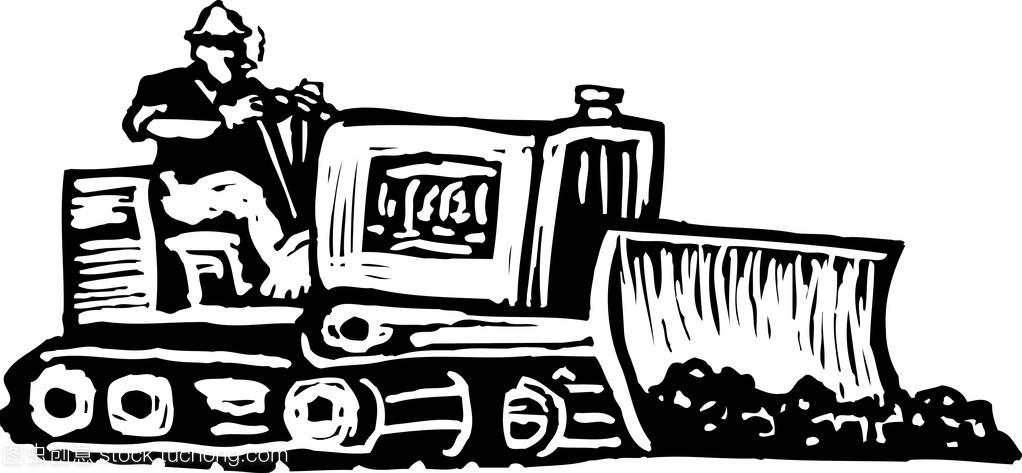 推土机操作员的插图液体如何用发酵罐木刻v插图图片