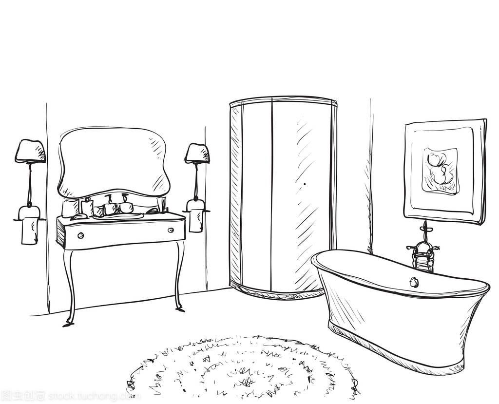 手绘家具。素描浴室家具厂振华图片