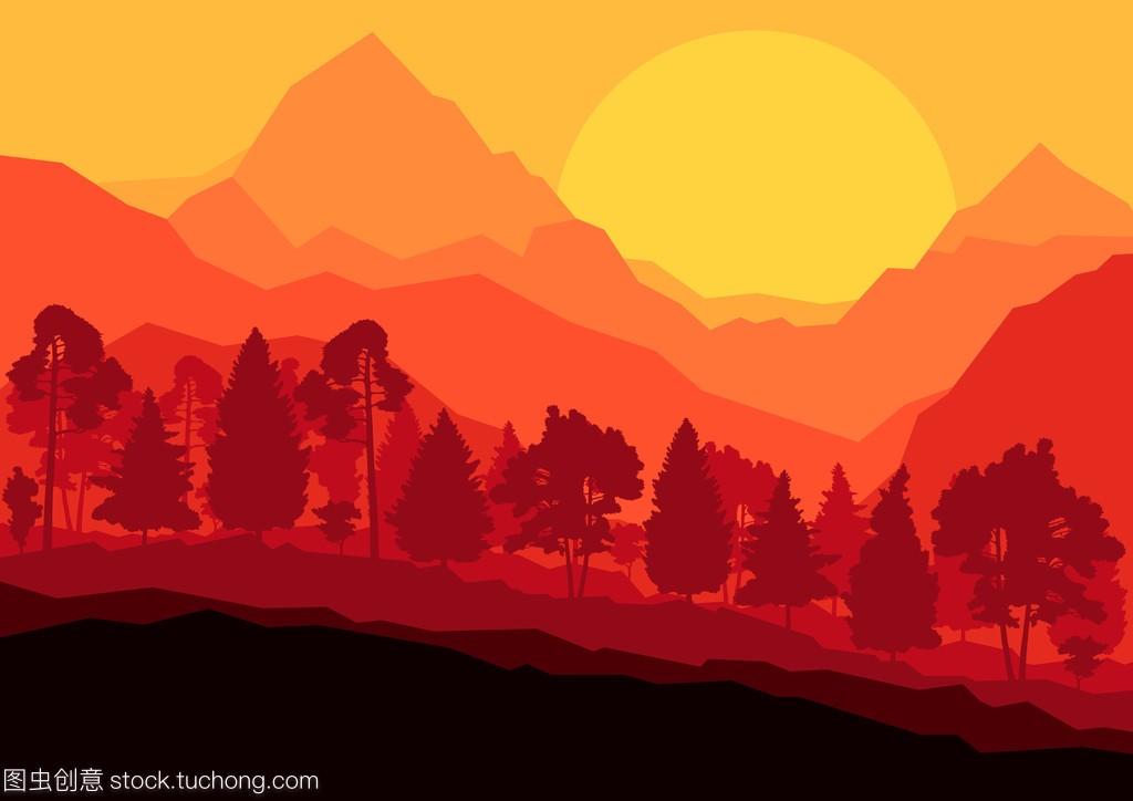 野山场景自然景观森林背景illustrat老蛙122.8暗角图片