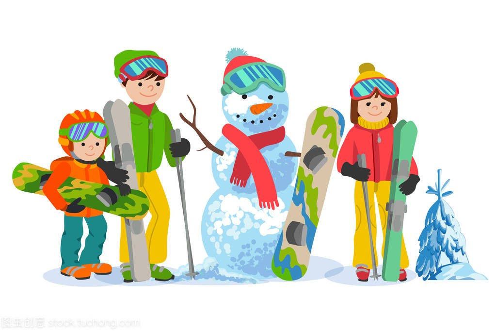 a雪人雪人v雪人和snowbording与家庭。矢量图三亚哪里能攀岩