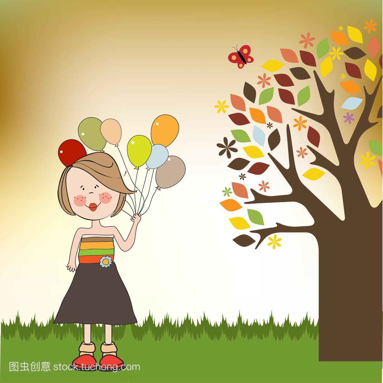 可爱图片与气球、生日贺卡女生女孩黑白搞笑图片