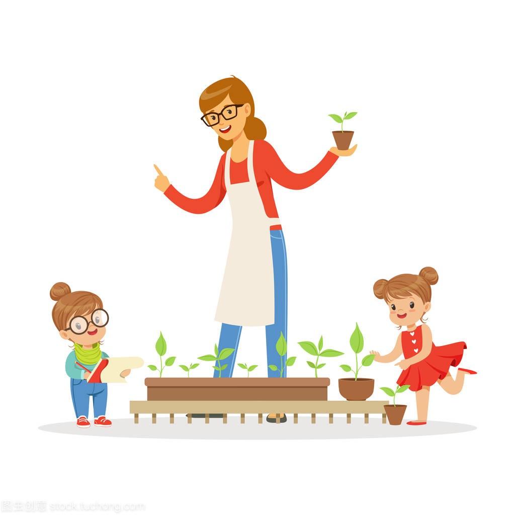 小女孩和女生v女生他们的帅哥在幼儿园卡通老师植物裆男孩掏被图片