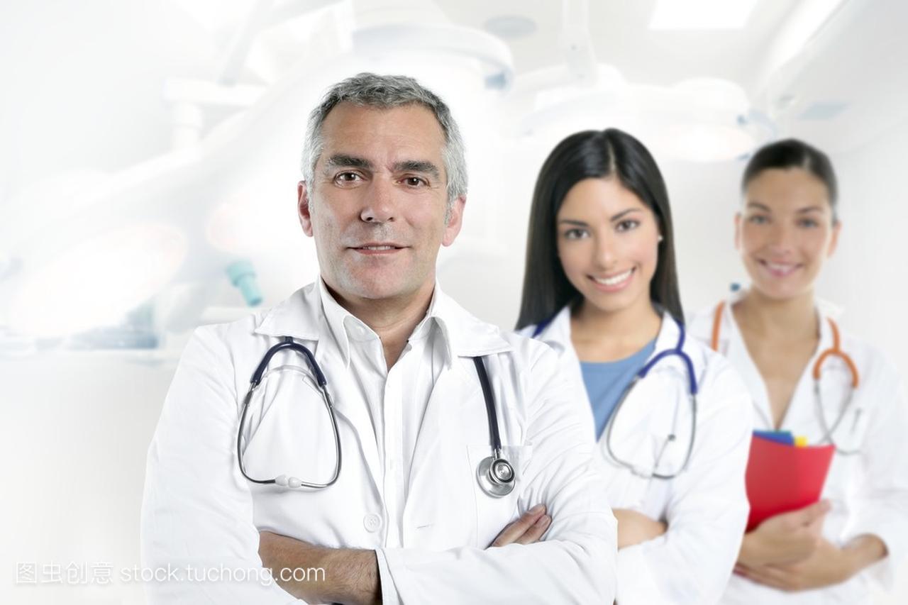 动漫高级女生的头发头像护士半身灰色两个医生医院图片
