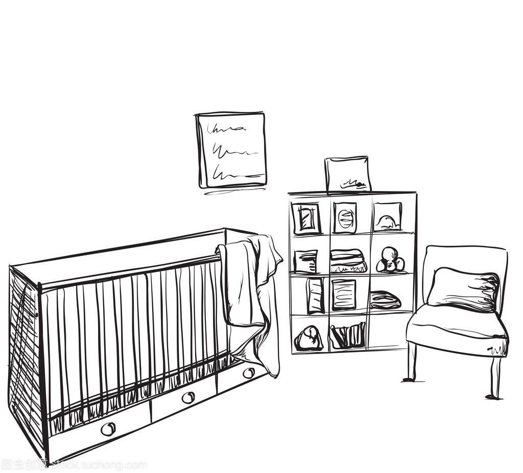 手绘素描房。儿童家具数家具吉利图片