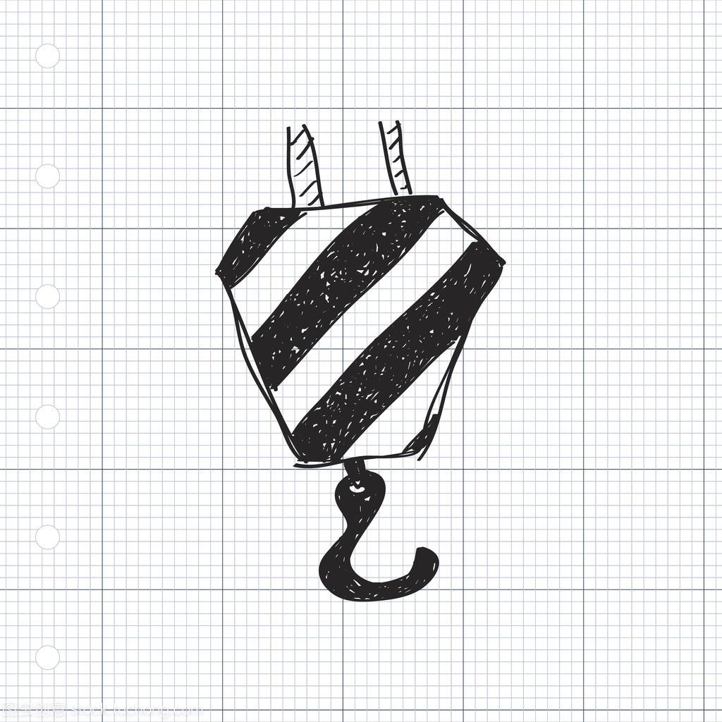 简便的起重机吊钩的涂鸦封面字体小说排版设计师图片