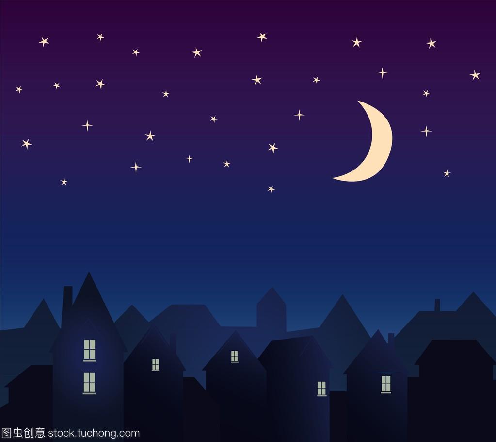 城市和晚上天空的星星和月亮的轮廓图片
