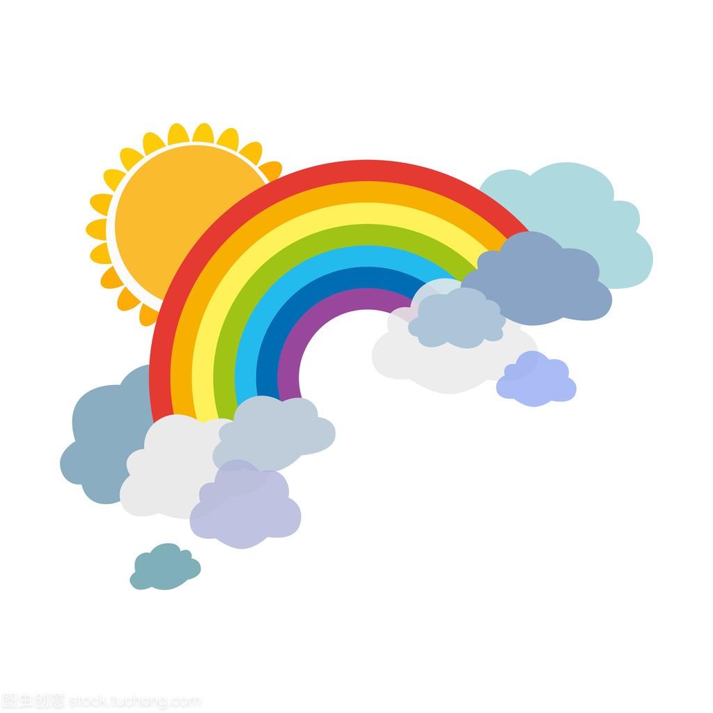 太阳彩虹卡通图片_蓝天白云彩虹卡通图片