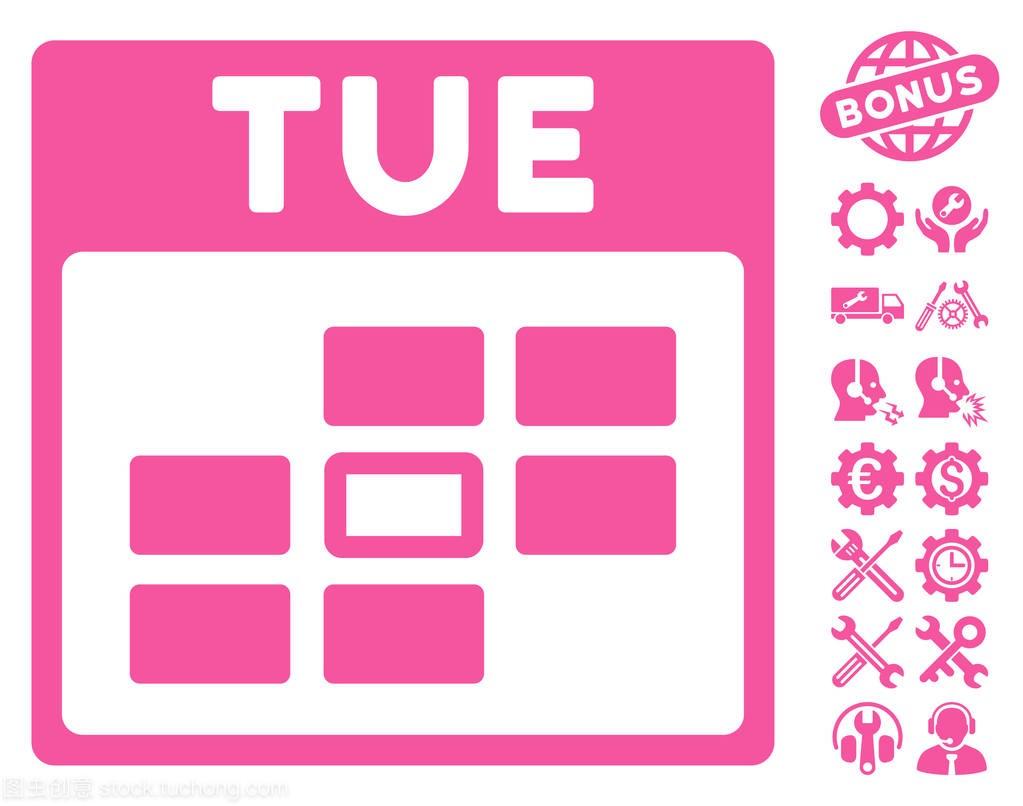 星期二家装矢量奖金网格与图标什么样的日历设计师好图片