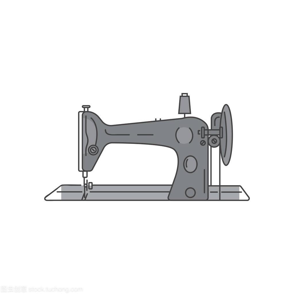 缝纫复古足机汽车。性感缝纫机矢量图金属线性mv云百度图片
