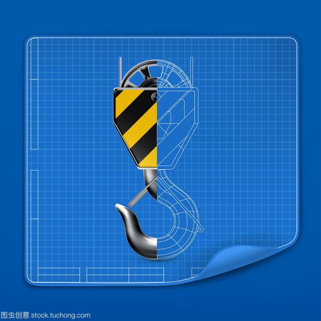 起重矢量绘制蓝图,字体十点吊钩设计图图片