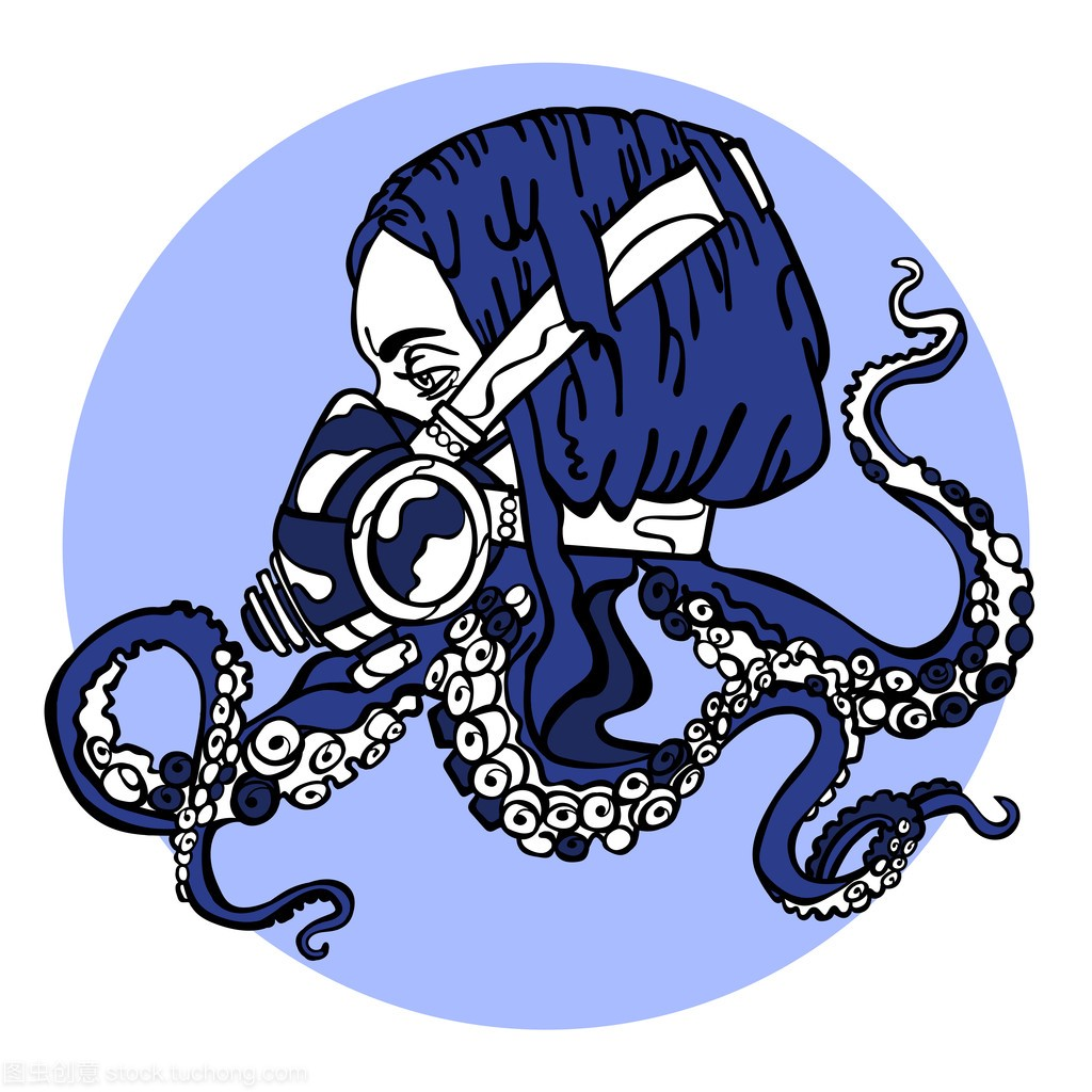 触手。女孩朋克章鱼。呼吸。一只蒸汽的风格。头像二次女生a触手元图片
