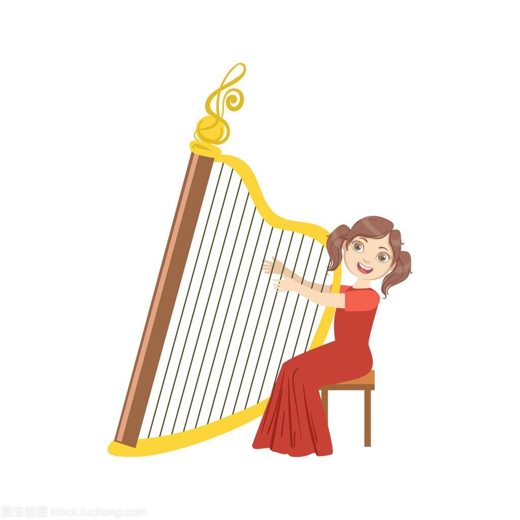 女孩女生名字弹奏竖琴一个红色穿着的字图片