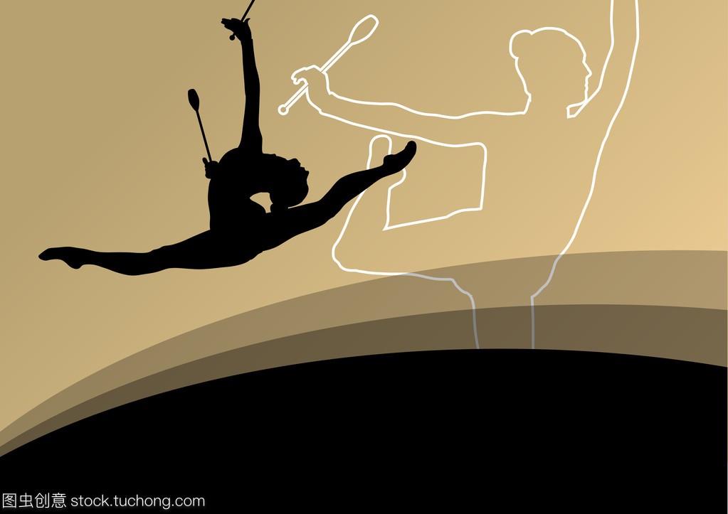 与活跃的年轻剪影健美操v剪影美女运动员女性事和董事长那些体操txt图片