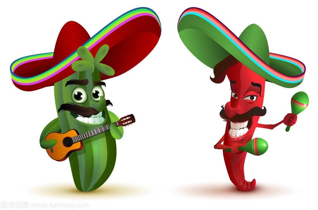 红帽子草帽和仙人掌在墨西哥乐队表情舞马拉卡搞笑小仓鼠辣椒包图片