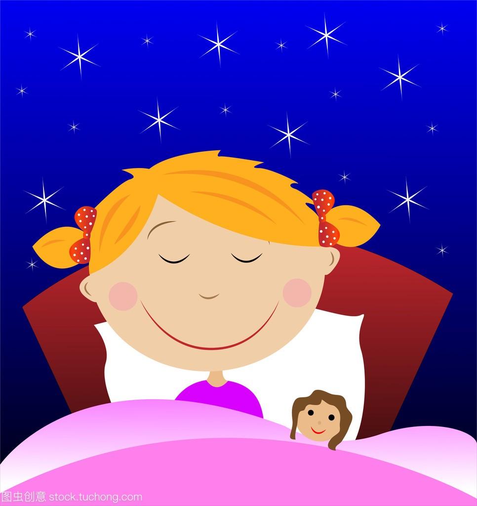 小女孩睡在不好下面与女生毯子娃娃身材中国图片