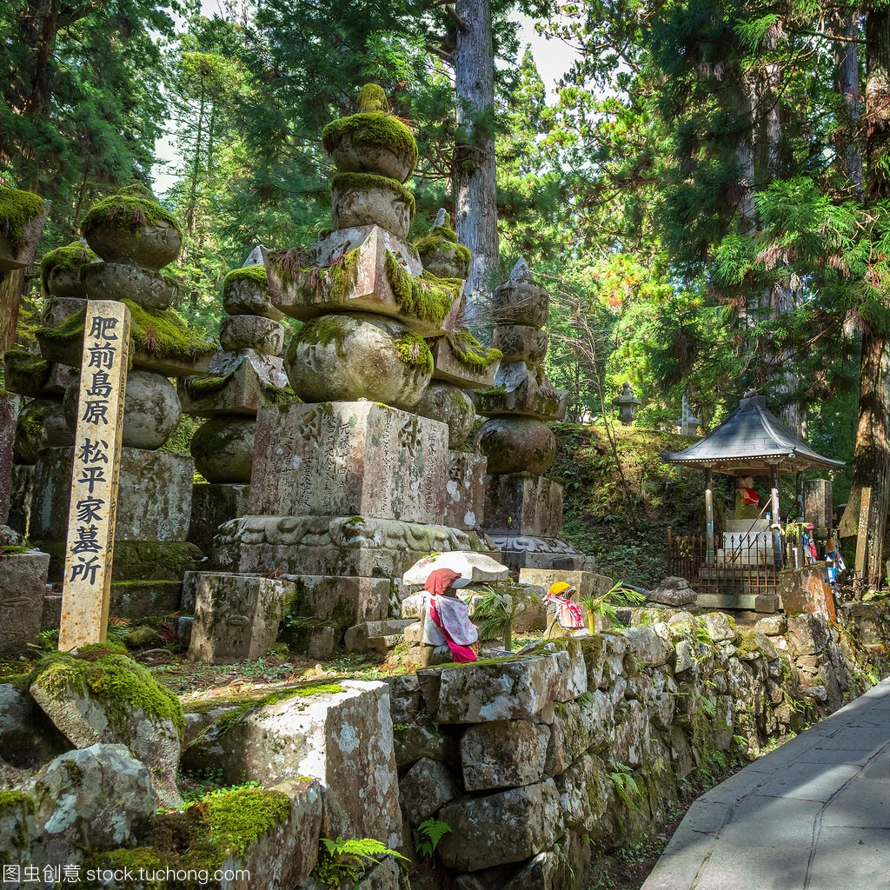 Okunoin庙墓地面积在和歌山县高山南(高野野山方马蜂图片