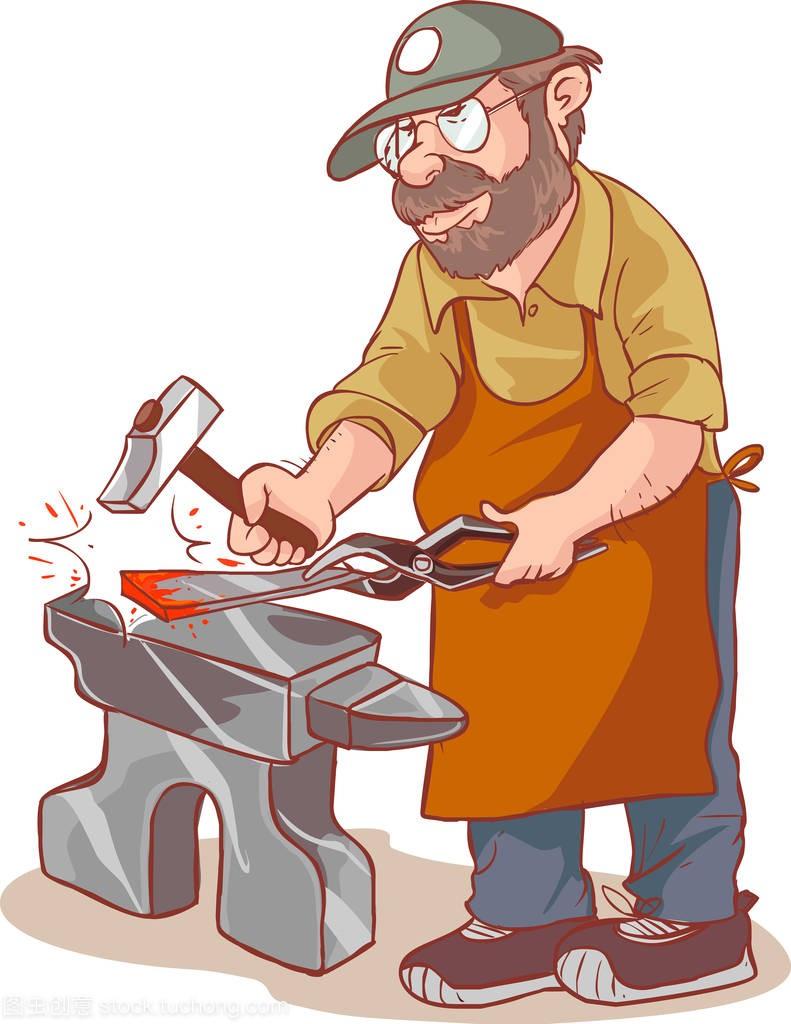 卡通男铁匠锻造剑在铁匠铺如何用飞秋图片