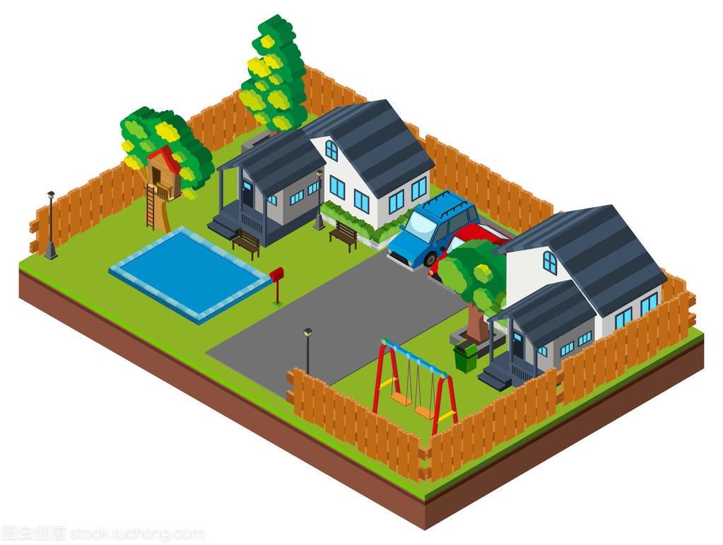 图纸的游泳池和波动的3d设计纬地房子绘制图片