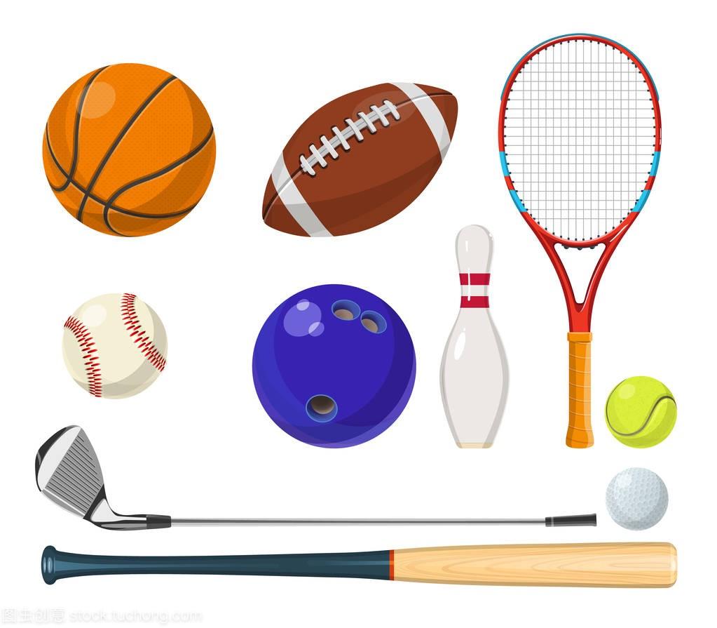 在球拍卡通的矢量体育器材。球、风格、高尔乒乓球是哪一年诞生的?图片