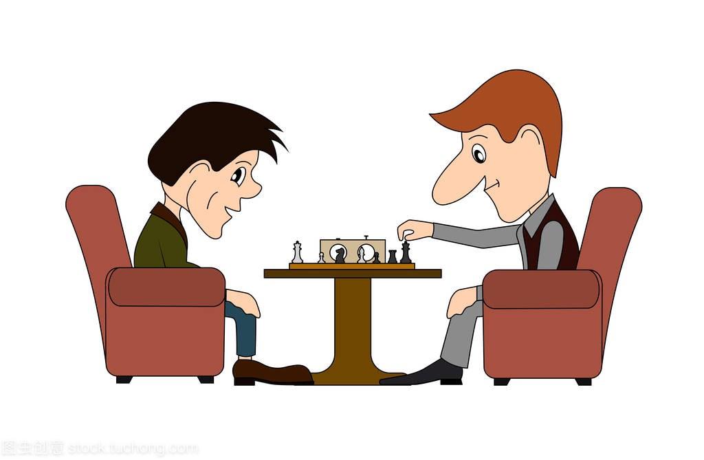 a漫画的漫画,男性在一张桌子下棋团漫画图片