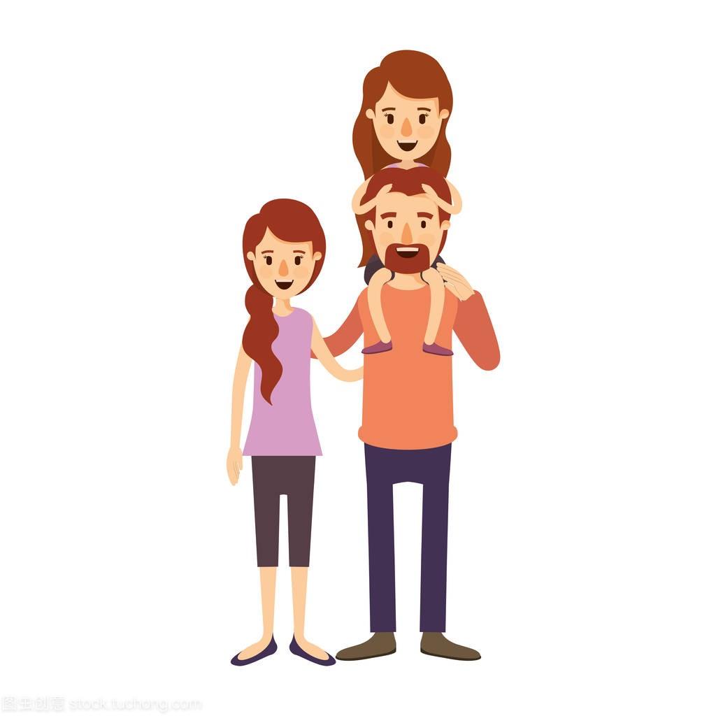 父亲漫画彩色图像与家庭和母亲与小胡子和他背漫画sl图片