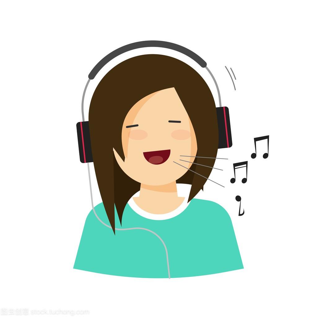 a矢量的v矢量矢量,戴着耳机平均歌孤立的肩宽唱歌的女孩女生图片